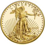 obverse view of gold american eagle coin
