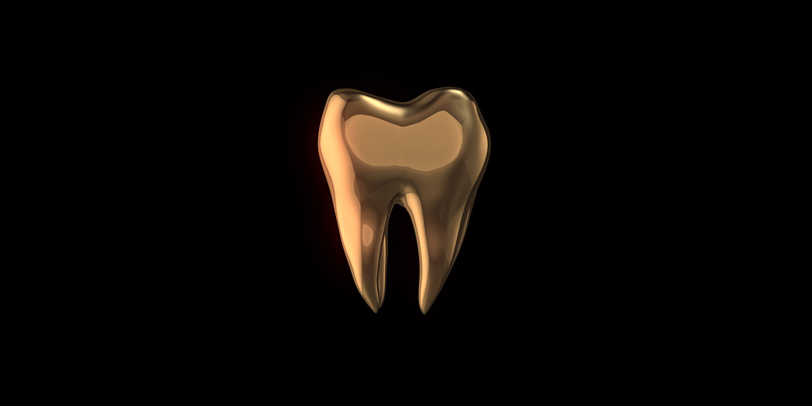 Golden tooth isolated on black background